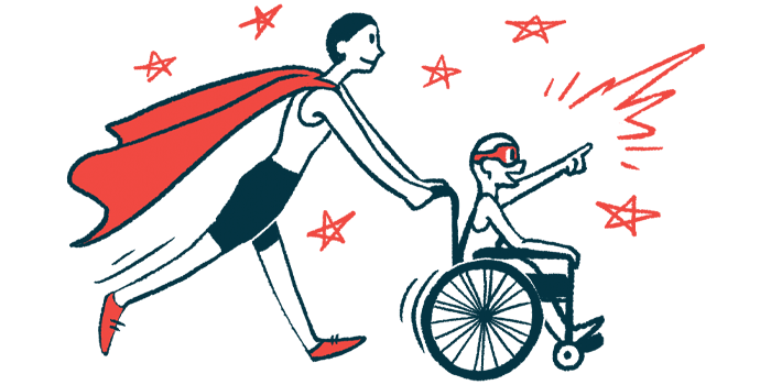 rare disease clinical trial participants   Lambert-Eaton News   Illustration of woman in cape pushing child in wheelchair